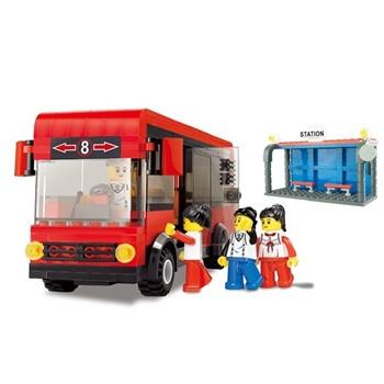 万格积木正品玩具拼插乐高式塑料拼装积木红色公共车站台送起件器
