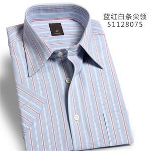 纳捷男春夏蓝底红白条纯棉宽松大码条纹商务休闲正装免烫短袖衬衫