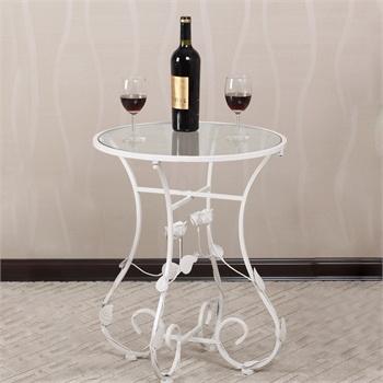 果漫欧式铁艺桌椅玻璃小圆桌茶几咖啡桌电话架边几样