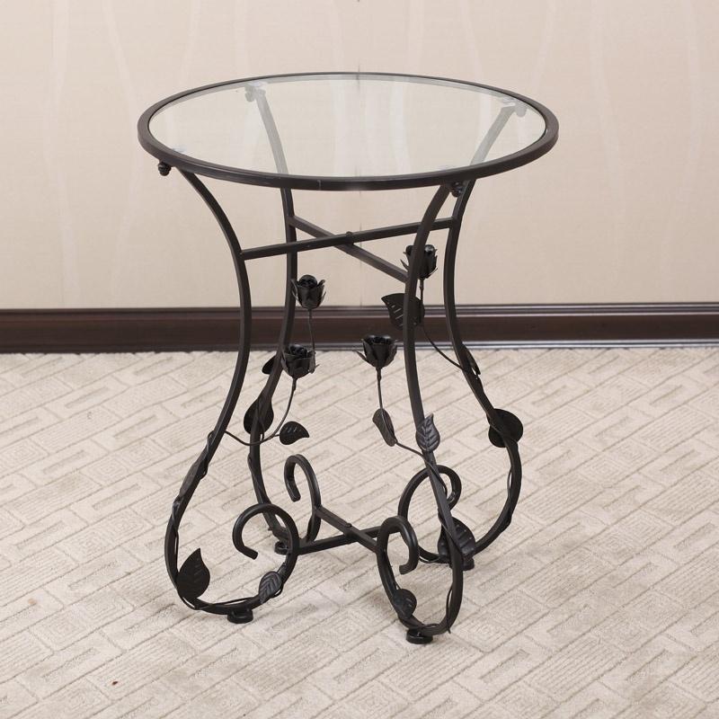 【果漫茶几】果漫欧式铁艺桌椅玻璃小圆桌茶几咖啡桌