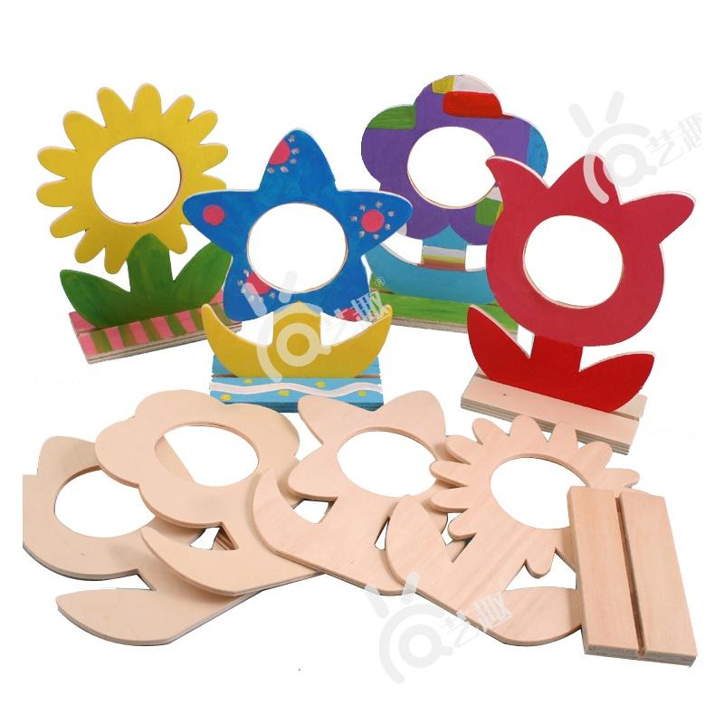 【艺趣手工diy】教师节礼物/品木质花朵相框幼儿园