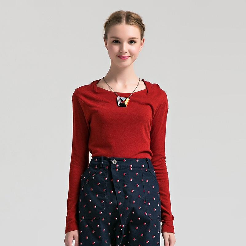 su 玛丝菲尔素品牌女装2014冬季新款时尚简约纯色上衣_其他红色,m