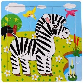 壹俩步9片拼图卡通动物交通幼儿园积木木质制拼版儿童小拼图玩具_斑马