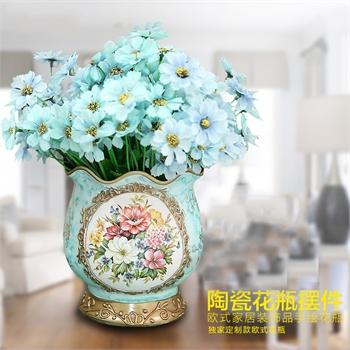陶瓷花瓶摆件欧式家居创意装饰品手绘插花器客厅餐厅