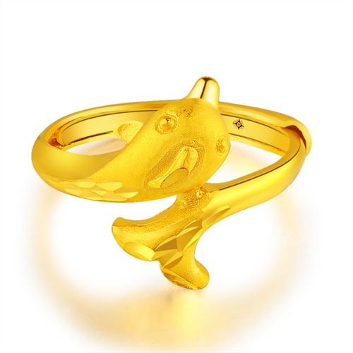 千禧之星 999千足金戒指 时尚24k黄金女戒可爱海豚纯金婚嫁饰品