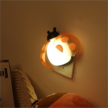 创意甲壳虫声光控led感应灯 灯 小夜灯 床头灯 感应灯 光控灯_粉色