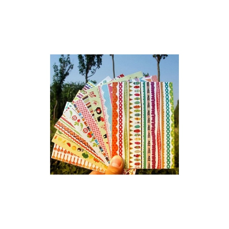 吉米兔韩版手绘彩虹封口贴角贴 diy相册日记装饰花边纸 每包8张,装饰