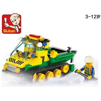 小鲁班玩具积木汽车拼装高山压雪车儿童拼接益智积木5-6-7-8岁