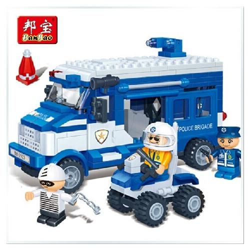 邦宝积木押送警车卡通拼插玩具儿童囚犯智力塑料玩具拼装城市超级飞侠积木警察图片