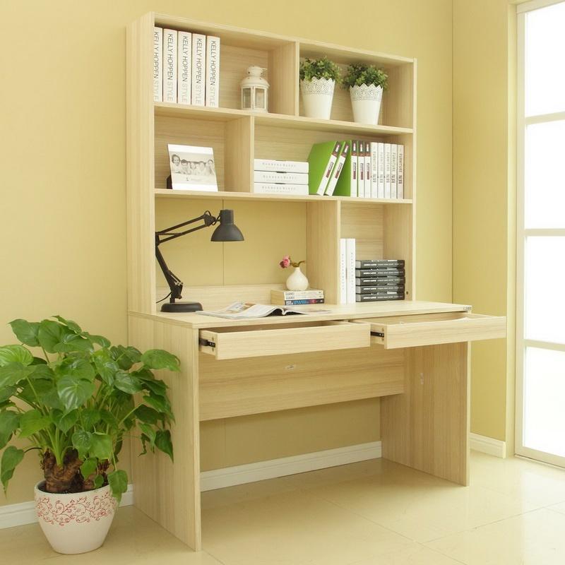 现代时尚连体书桌柜 家用电脑桌书桌书柜