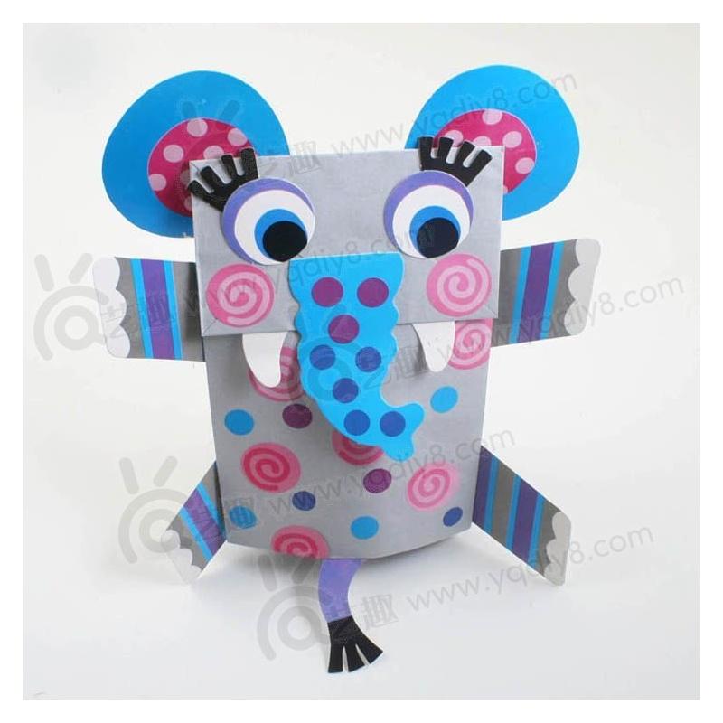 礼物幼儿园手工材料手工diy儿童手工-大象纸袋手偶