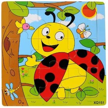 壹俩步9片拼图卡通动物交通工具幼儿园木质制拼版儿童小拼图玩具_瓢虫