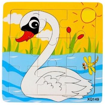 壹俩步9片拼图卡通动物交通工具幼儿园木质制拼版儿童小拼图玩具_白鹅