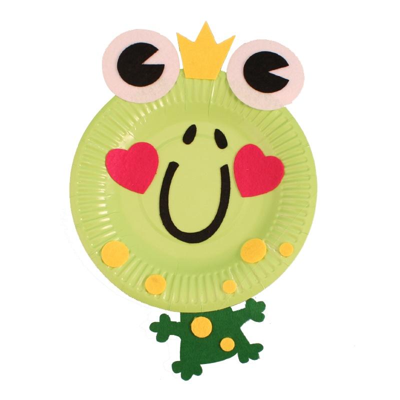 幼儿园手工自制纸盘动物材料包儿童diy制作创意礼物礼品多款单个_青蛙