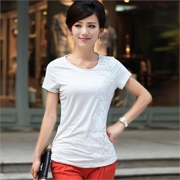 丝柏舍 2013夏季新款 时尚圆领修身显瘦拼接手绣纯色短袖T恤衫 018075