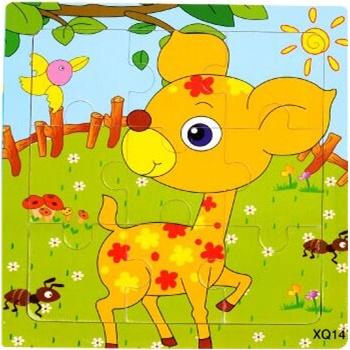 壹俩步9片拼图卡通动物交通工具幼儿园木质制拼版儿童小拼图玩具_小鹿