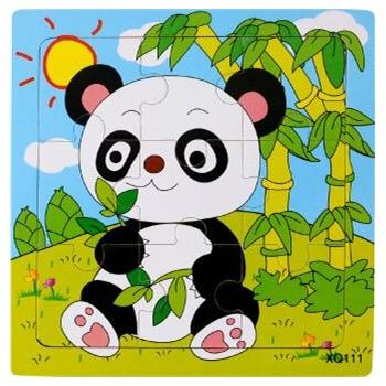 壹俩步9片拼图卡通动物交通工具幼儿园木质制拼版
