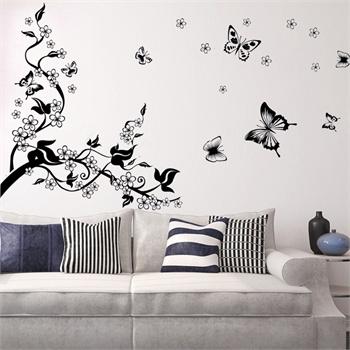 黑白蝴蝶墙贴 可移除墙壁装饰画 墙纸 客厅 卧室 床头图片