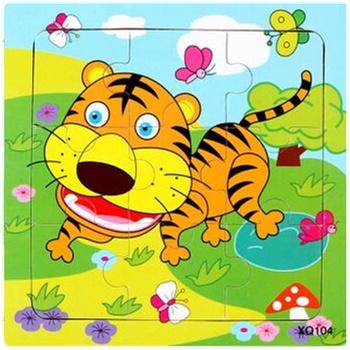 壹俩步9片拼图卡通动物交通工具幼儿园木质制拼版儿童小拼图玩具_老虎
