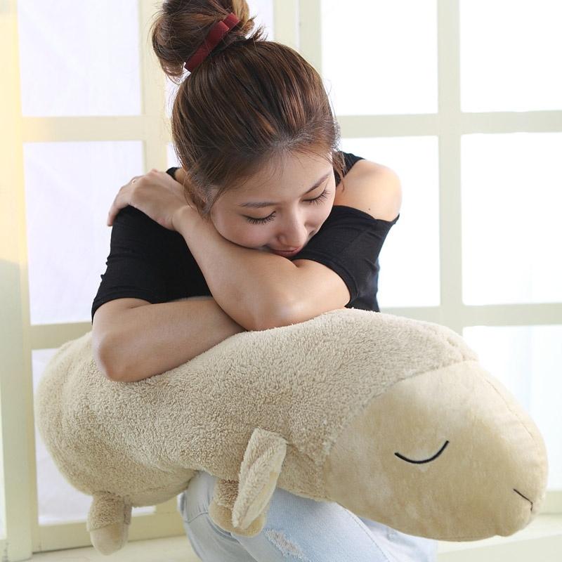 超级可爱的小羊长枕头 家庭抱枕靠枕 安睡羊夹腿枕男友抱枕