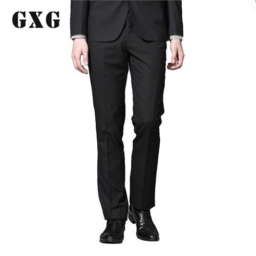 GXG正品 新款男士时尚修身休闲西裤经典黑色潮流长裤#99114305