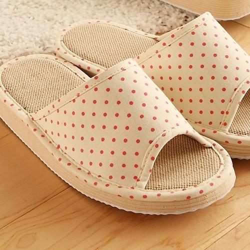 春夏季新款可爱棉麻波点拖鞋