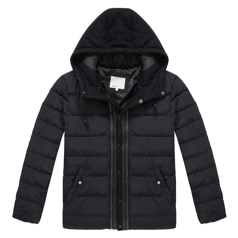 森马2014年男士冬装新款修身连帽按扣纯色保暖羽绒服图片