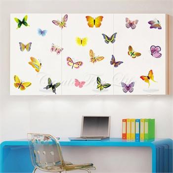 缤纷彩蝶墙贴可移除墙壁装饰画墙纸客厅卧室床头家
