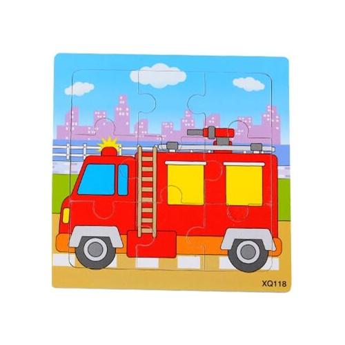 俩步9片拼图卡通动物交通幼儿园积木木质制拼版儿童小拼图玩具_消防车