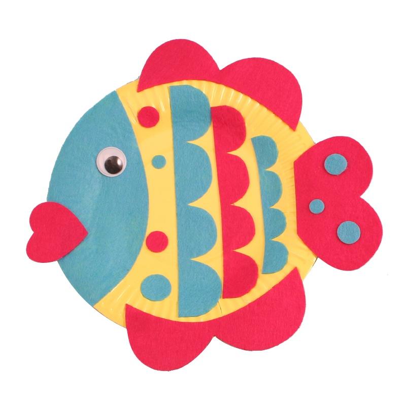 幼儿园手工自制纸盘动物材料包儿童diy制作创意礼物礼品多款单个_小鱼