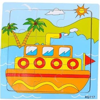 壹俩步9片拼图卡通动物交通工具幼儿园木质制拼版儿童小拼图玩具_小
