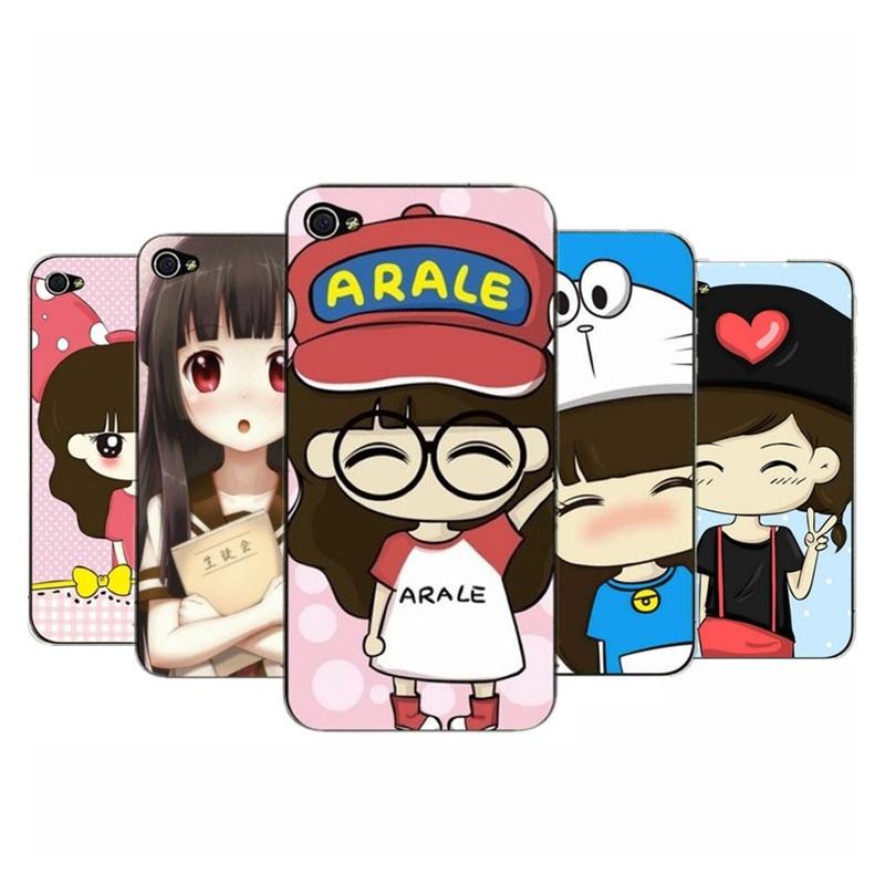 2件包邮 韩版苹果4代可爱卡通女孩浮雕彩绘 iphone4/4s苹果手机壳