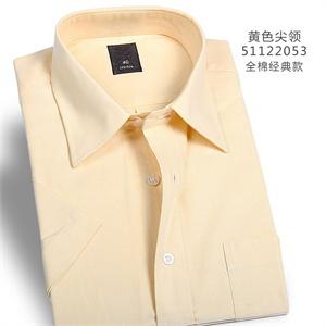 纳捷男大码潮黄色纯色棉宽松休闲商务正装职业短袖衬衫