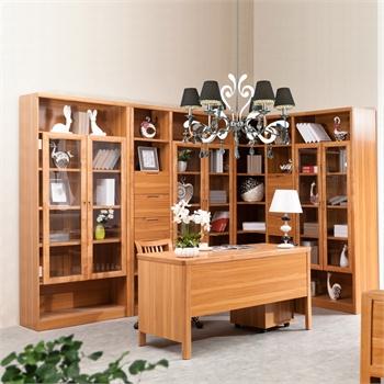 中式原木书柜效果图