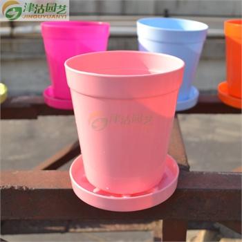 津沽园艺 1套 粉色 彩色多肉花盆 园艺用品 塑料圆盆自带托盘 加厚无