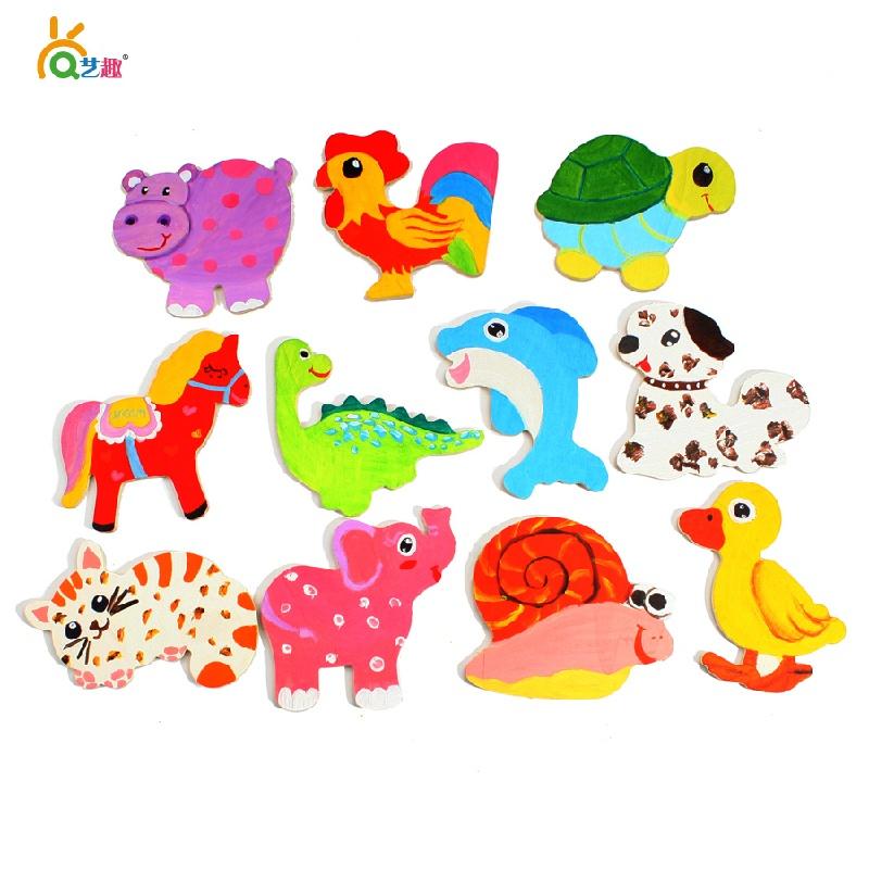 【艺趣手工diy】艺趣幼儿手工材料包木质动物冰箱贴