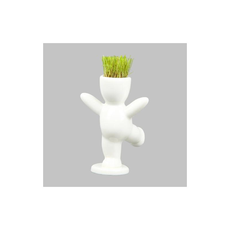 桌面绿植 超q动感小白人 草娃娃 迷你植物 办公室摆件