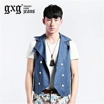 jeans男装2014新款夏装男士潮修身时尚两件套马甲#32709121