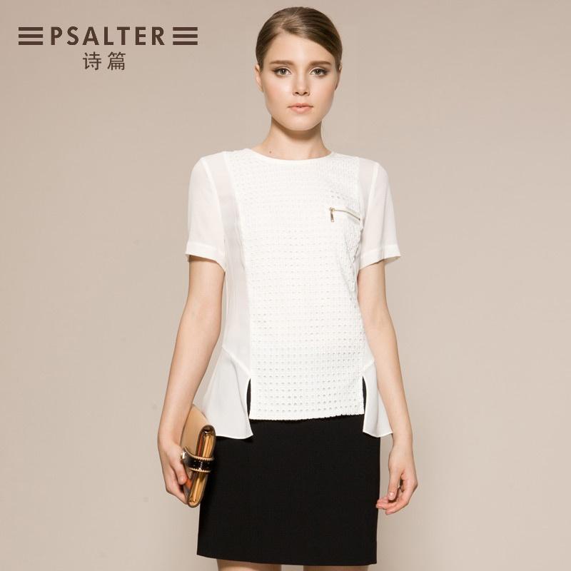 诗篇 正品夏款衬衣 纯棉上衣纯色圆领衬衫女63330050_白色,l(160/84a)