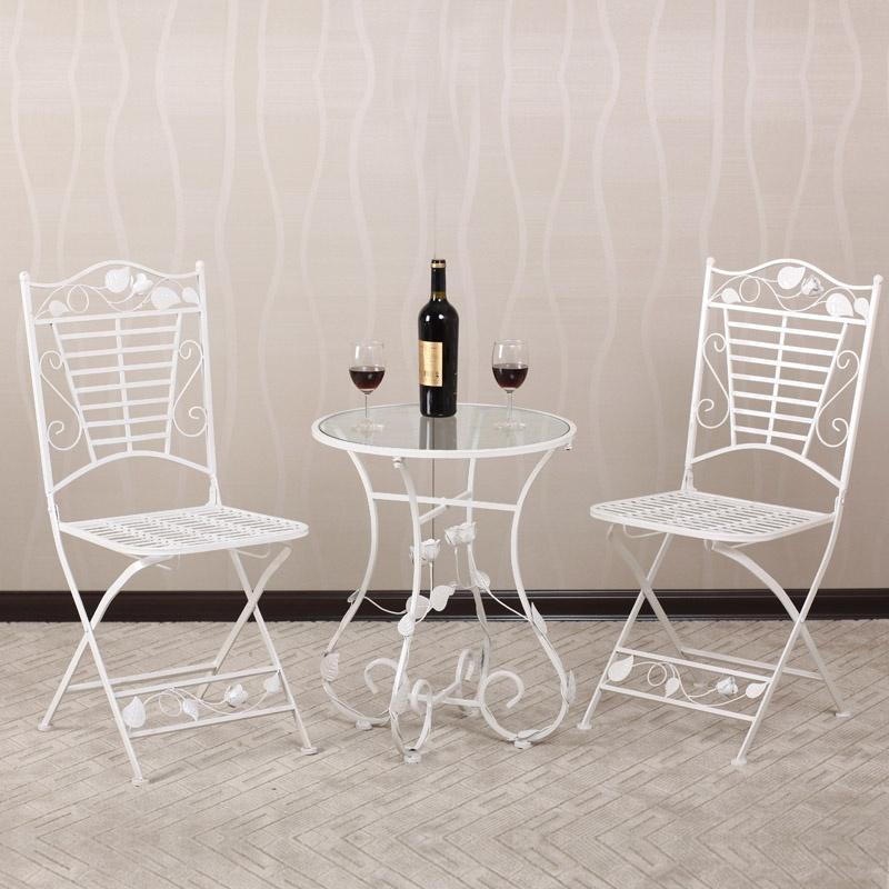 【果漫户外家具】果漫欧式铁艺桌椅玻璃圆桌茶几咖啡