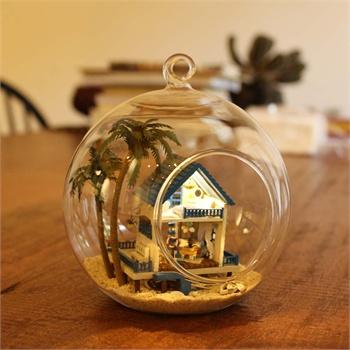 新款 情人节礼物 diy小屋 迷你岛屿 森林梦 浪漫爱琴海 带玻璃球