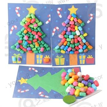 手工diy儿童手工制作幼儿手工diy-魔法玉米圣诞树