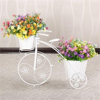 果漫欧式铁艺自行车花架花几花盆架田园阳台车型植物