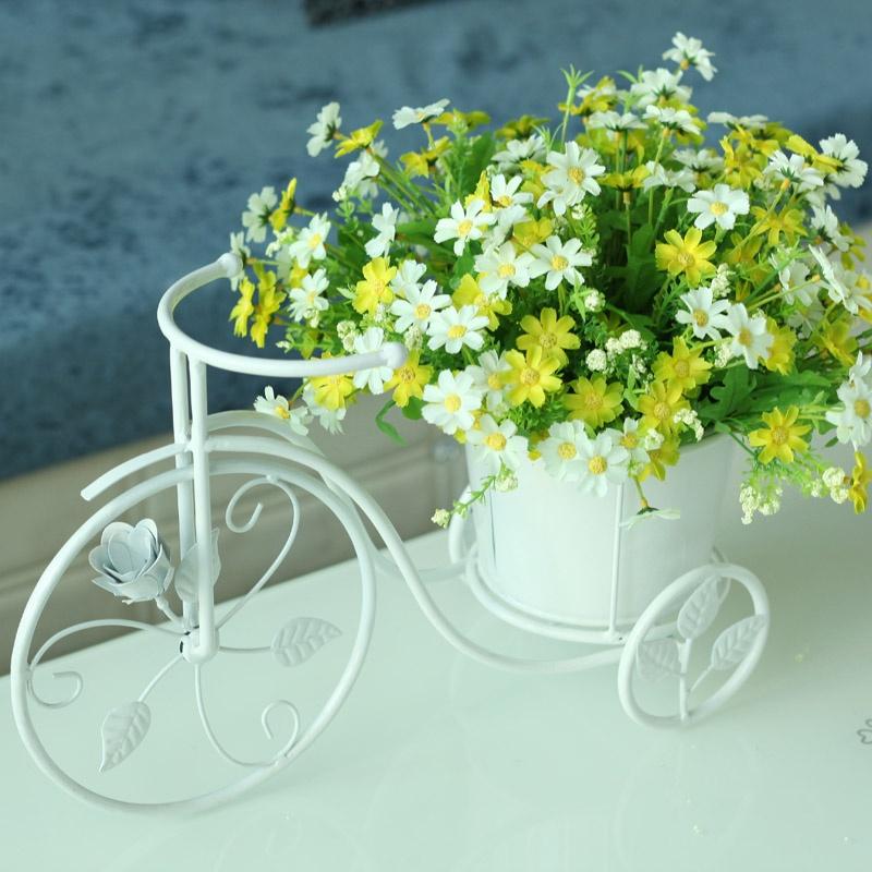 【果漫欧式田园铁艺自行车插花器花瓶花器摆件花艺+6