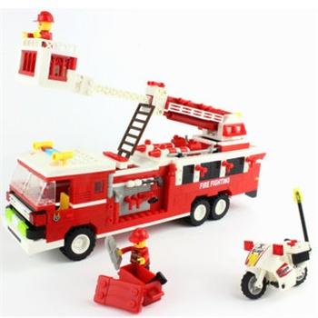 消防车模型万格正品玩具塑料积木益智儿童玩具乐高式