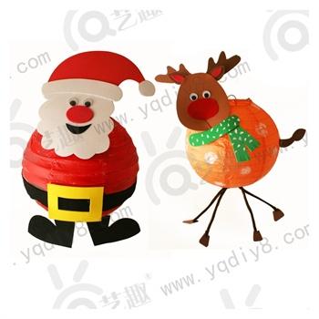 圣诞节雪人灯笼老人灯笼diy儿童diy手工圣诞节卡通手提灯笼材料包
