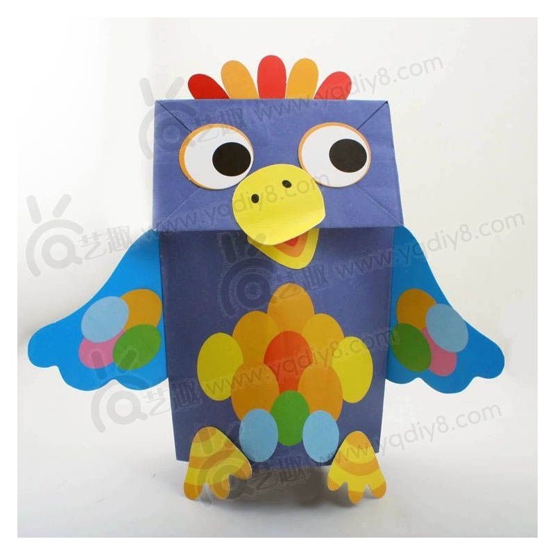 幼儿园手工材料手工diy儿童手工制作幼儿手工diy--小鸟纸袋手偶