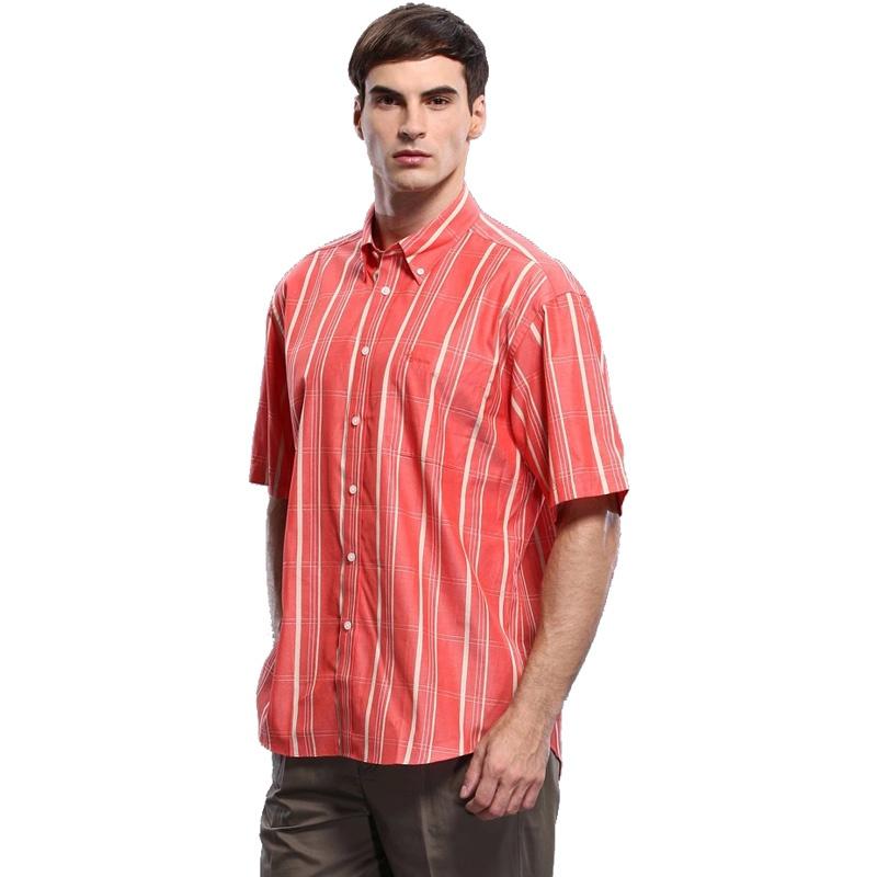 圣大保罗 专柜正品 男士商务休闲纯棉条纹短袖衬衫 ps8wh117