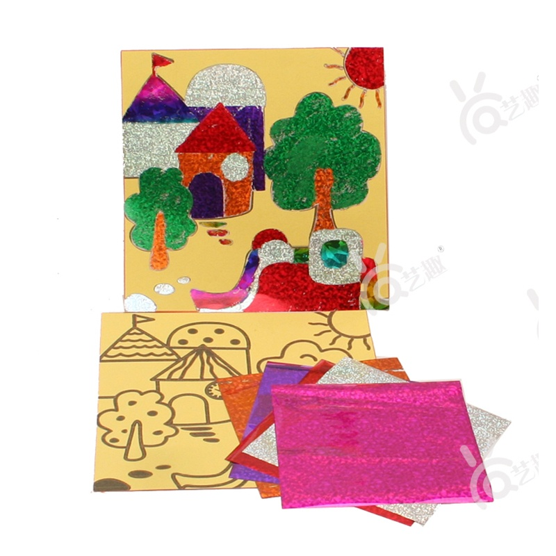 【艺趣手工diy】幼儿园手工材料镭射贴纸画儿童diy