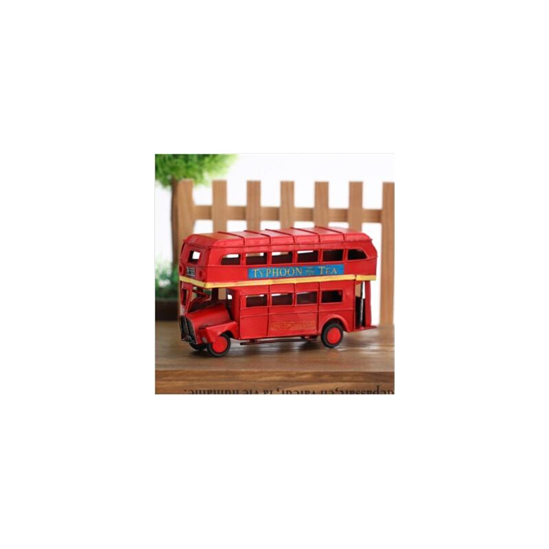 欧式客厅装饰 复古铁艺双层巴士摆件摆设饰品